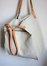 Veľké tašky - Veľká ľanová taška prírodnej farby - 9600607_