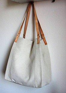 Veľké tašky - Veľká ľanová taška prírodnej farby - 9600610_