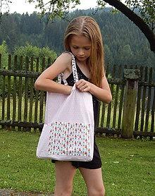 Detské tašky - Detská nákupná taška - Ružová s domčekmi - 9601143_