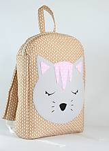 Detské tašky - RUKSAK s mačičkou, hnedo - sivý, od 2,5r. - 9601078_