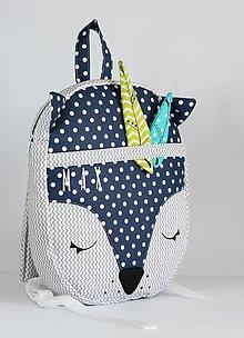 Detské tašky - RUKSAK LÍŠKA sivo -modrý 2,5r. - 9601012_