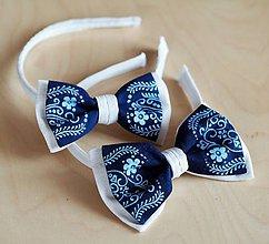 Ozdoby do vlasov - Motýlik dámsky modrotlač Folk - 9602556_