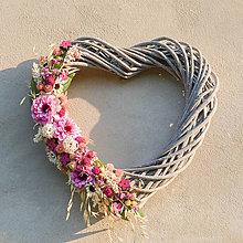 Dekorácie - Letné srdce s fialovou cíniou - 9601107_
