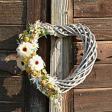Dekorácie - Letné srdce s bielou cíniou - 9601618_