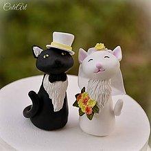 Dekorácie - Svadobné mačičky - figúrky na svadobnú tortu - 9602384_