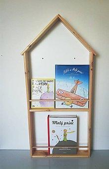 Nábytok - detská polička na knihy domček - 9600203_