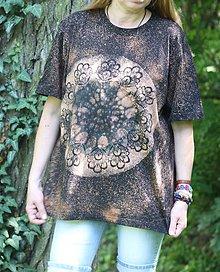 Tričká - Batikované bavlnené čierne unisex tričko XL - 9601934_