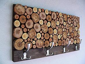 Nábytok - Závesný drevený vešiak RUSTIC - 9600282_