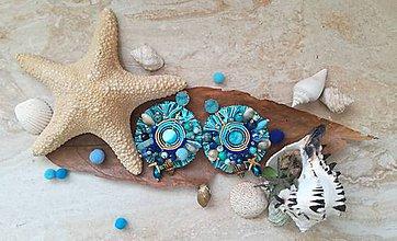 Náušnice - Modré lagoon nausnicky - 9601228_