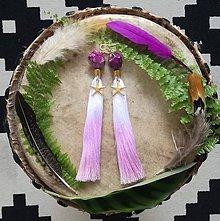 Náušnice - Purple ombre strapce - 9601360_
