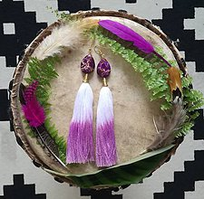 Náušnice - Ombre purple drops nausnicky - 9601401_