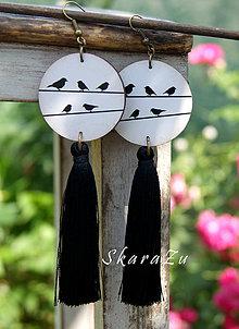 Náušnice - Vtáčiky s hodvábom - 9602120_