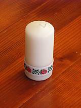 Svietidlá a sviečky - Folklorna biela sviečka 10cm - 9600269_