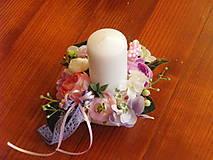 Dekorácie - Ružovo-fialková dekorácia so sviečkou pre učiteľku - 9600314_