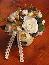 - Vintage bielo smotanová dekorácia v keramike - 9601302_