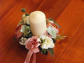 Dekorácie - Vintage staroružovo-ivory dekorácia so sviečkou pre učiteľku - 9600328_