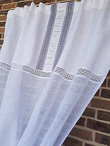 Úžitkový textil - Ľanový záves Grey Shadows - 9602275_