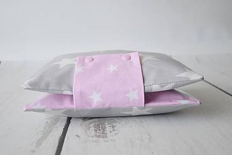 Detské doplnky - Obal na plienky ružovo-sivé hviezdy s vinylom - 9604707_