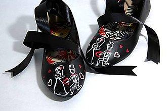 Obuv - čierne baleriny - svadobné - 9605315_