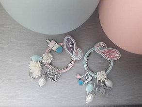 Náušnice - pastelová radosť - šité šujtášové štebotavé kruhy (ružová a belasá, každá iná) - 9602845_