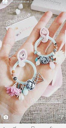 Náušnice - pastelová radosť - šité šujtášové štebotavé kruhy (belasé s ružovou) - 9602856_