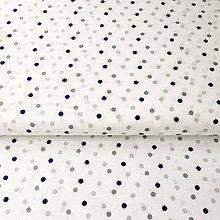 Textil - modré a šedé bodky, 100 % bavlna, šírka 140 cm, cena za 0,5 m - 9604427_