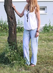 Nohavice - Batikované ľanové nohavice Mandaly - 9605336_