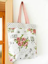 Nákupné tašky - Vintage ruže a známky  - 9602750_