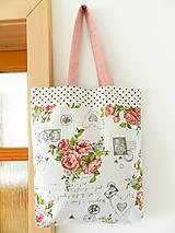 Nákupné tašky - Vintage ruže a známky  - 9602751_