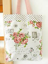 Nákupné tašky - Vintage ruže a známky  - 9602752_
