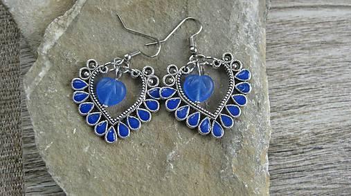 Veľké srdcové náušnice s kamienkami (kráľovské modré č. 2181 ... 1efc4b55d8