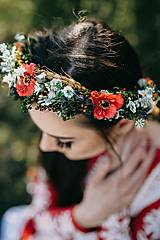 """Ozdoby do vlasov - Kvetinový venček """"o čom šepkajú maky"""" - 9604401_"""