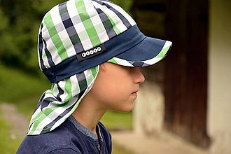 Detské čiapky - Kockovaná šiltovka s plachtičkou proti slnku - 9605593_