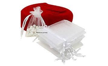 Obalový materiál - Organzové vrecko-biele, 7x9cm, ihneď - 9604643_