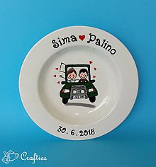 Nádoby - Svadobné taniere - párik v aute - 9605441_