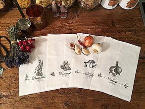 Úžitkový textil - Plátené Vrecko na huby, bylinky, cibulu, cesnak - 9608279_