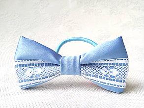 Ozdoby do vlasov - Folklore hair bow (baby blue/white) - 9607648_