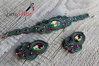 Sady šperkov - súprava šujtáš biela (šujtášová súprava zeleno-magenta) - 9606627_
