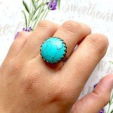 Prstene - Bronze Romantic Tyrkenite Ring / Bronzový prsteň s tyrkenitom - 9607160_