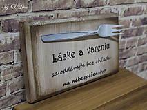Tabuľky - Vintage tabuľka - Láska a varenie - 9607242_