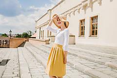 Sukne - Lněná zavinovací sukně (hořčicová)  - 9606227_