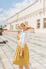 Sukne - Lněná zavinovací sukně (hořčicová)  - 9606228_