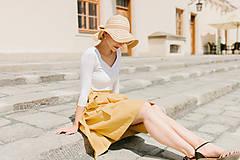 Sukne - Lněná zavinovací sukně (hořčicová)  - 9606232_