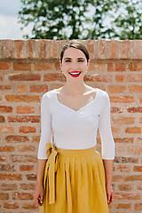 Sukne - Lněná zavinovací sukně (hořčicová)  - 9606233_