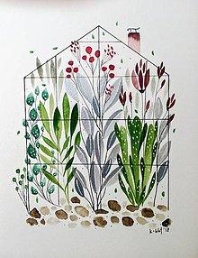 Obrazy - Sklenik ilustrácia / originál maľba - 9606849_