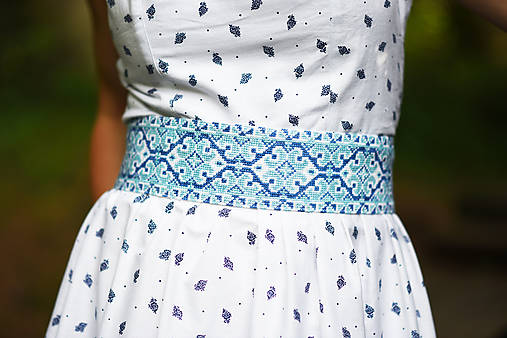Opasok Folkový krížik modrý