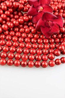 Minerály - koral červený korálky 9-9,5mm - cena za 10 ks , AKCIA! - 9607282_