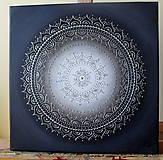 Obrazy - KVET ŠŤASTIA BIELY (silver) 40 x 40 - 9607487_