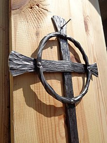 Dekorácie - Kríž - Kristov venček- - 9607213_