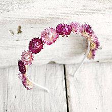 Ozdoby do vlasov - Kvetinová čelenka Ružové slamienky - 9606426_